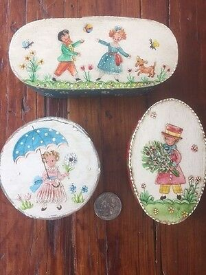 Set of Three Antique Hand Painted Bentwood Boxes, West German.