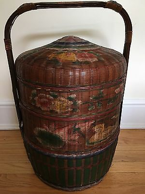 Large antique hand-painted Chinese Wedding basket