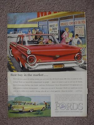 1959 Ford Custom 300 & Ranch Wagon Large Full Page Color Ad Free Shipping
