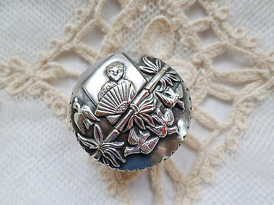 Antique Silver Topped Chinese Design Box  Girl, Bird & Fan ~ Pill~ Opium ~ Snuff