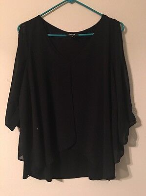 By & By Women's Juniors Black Sheer Blouse - Size XL