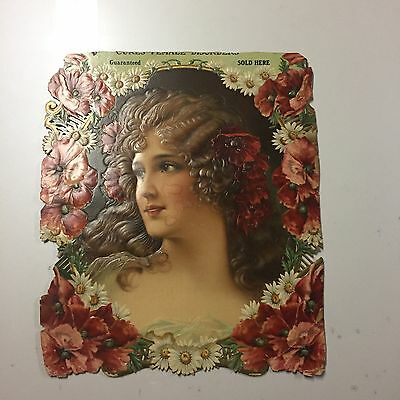 1900s VICTORIAN LADY STORE DISPLAY DIE CUT Embossed TRADE SIGN 14x16