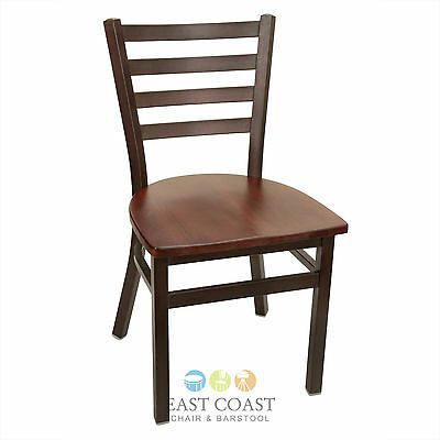 New Gladiator Rustic Brown Metal Ladder Back Restaurant Chair, Walnut Wood Seat