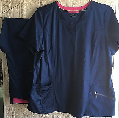 Plus Size Beyond Scrubs Navy Blue Set. Pants TL, Top 2X
