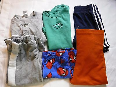 6 PC Boys Lot Clothes Shirt Pajama Onisies Pants Size 24 Month