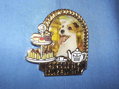 Danbury Mint Jack Russell Terrier Dog Pin Badge (Everything Stops For Tea)
