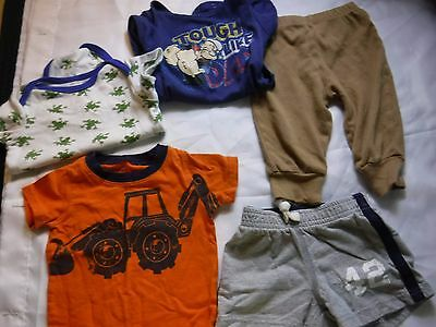 5 PC Boys Lot Clothes Shirts Pants Onsie Shorts  Size 9 Months