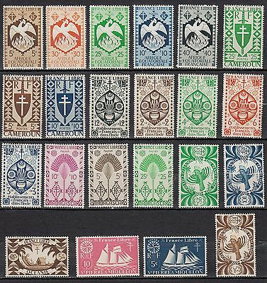 J40) Lot x22 timbres FRANCE LIBRE-FREE Neuf-MNH Inde-Nouvelle Calédonie...