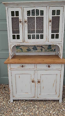 Old Pine Dresser 3 Door Glazed Top Painted Shabby Chic With Yacht Mural