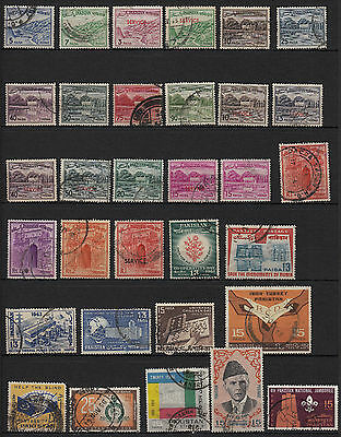 v14) x32 TIMBRES Oblitérés-Used PAKISTAN POSTAGE (dont service) STAMPS