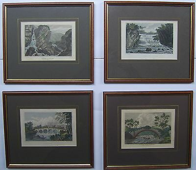 Four framed hand coloured original 18 & 19th century engravings North Yorkshire