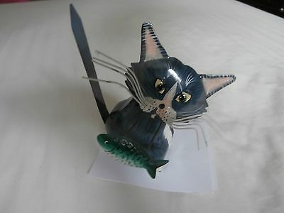 Tin Cat with Fish Ornament