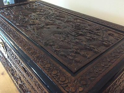 Antique Large Chinese Carved Camphorwood Coffer Bedding Linen Box