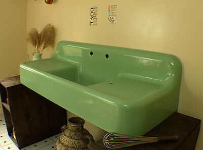 1932 Seafoam Green Antique Farmhouse Sink 60 inch Vintage Dual Drainboard