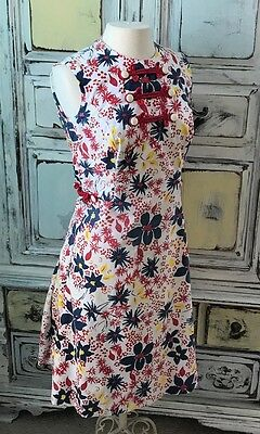 Vintage Dress 1960s Flowers Red White Blue Yellow Sleeveless Summer