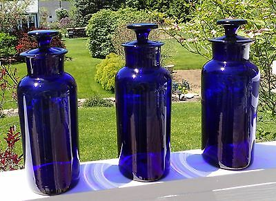 Lot of (3) blown cobalt blue apothecary pharmacy bottles with ground stoppers