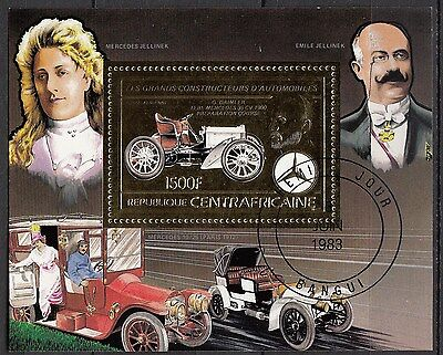 H195) bloc timbre Neuf MNH REPUBLIQUE CENTRAFRICAINE-RCA/ CARS-VOITURES Or-Gold