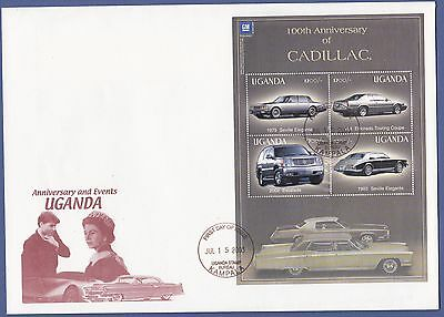 H55) Cars-Voitures UGANDA 4 stamps/timbres CADILLAC Envelopppe First Day Issue
