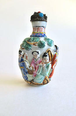 Antique Chinese Snuff Bottle Porcelain snuff bottle bas relief tiny bottle 1800s