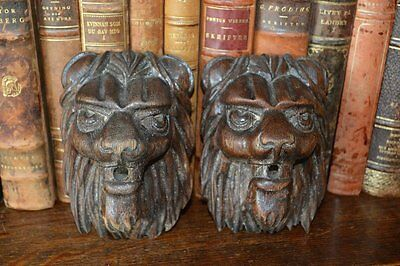 Antique French Lion Heads Carved Wood Pair Architectural Mounts