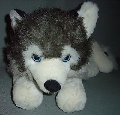 """Large plush 20"""" SIBERIAN HUSKY toy dog with blue eyes, Excellent Condition"""
