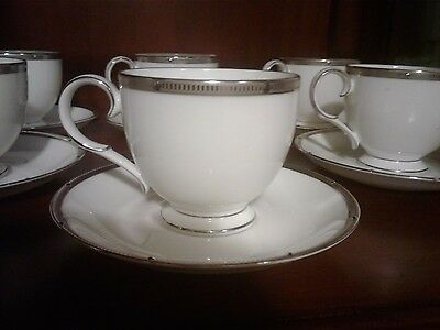 Noritake pearl platnum cup and saucer set white and silver bone china