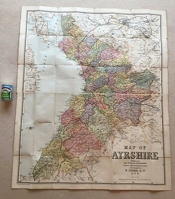 """LARGE 2 PIECE CLOTH MAP 51 1/2"""" x 43"""" - AYRSHIRE BY W & A.K. JOHNSTON 1804 -1871"""