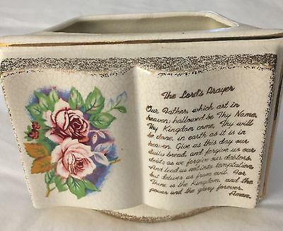 "Vintage Rubens Lord's Prayer Planter Religious,  Like Open Book 4"" x 5"""