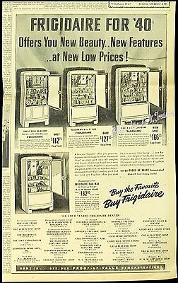 1940 Large Newspaper Ad FRIGIDAIRE REFRIGERATOR Mid-Century Kitchen Appliance