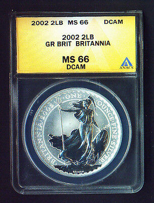 MS66 DCAM   2002 GREAT BRITAIN 2 POUNDS BRITANNIA  silver 1 ounce     / 66 /