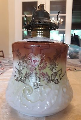 Antique Art Nouveau Poppy Glass Oil Lamp Lantern