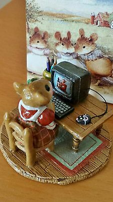 "Wee Forest Folk M-040s ""Miss Bobbin Online"" red plaid RETIRED Mint"
