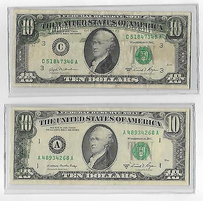 Lot of Two $10 1981 Federal Reserve Note Offset Printing Errors