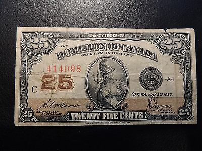 1923 Dominion Canada Shinplaster 25 Twenty Five Cents Mccavour Saunders 414098