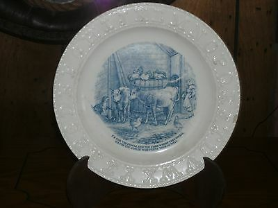 Antique Alphabet Plate Child's 1800's Blue/White 8 1/3 in.