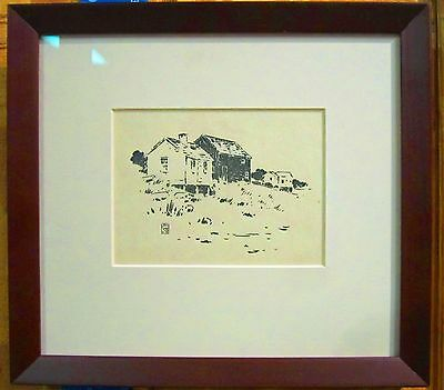 "Arthur Wesley Dow, An Original  Print ""Old Buildings Along The Shore"""