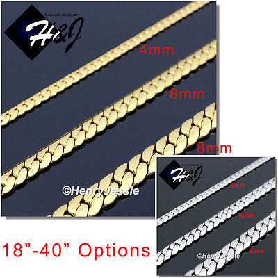 """18-40""""MEN Stainless Steel 4/6/8mm Silver/Gold Miami Cuban Curb Chain Necklace"""