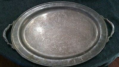 Large Vintage Butler Silver Plated Serving Tray w/ Handles