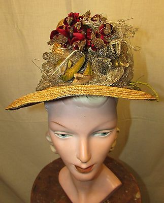 1880's Gold Straw Hat With Tall Crown