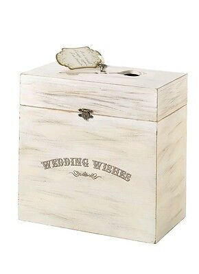 Wedding Wishes Wooden Card Box With Key Detail