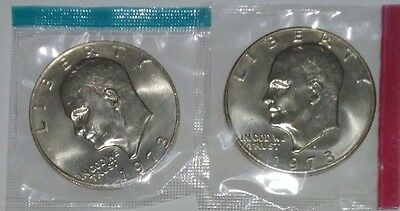 1973 P & D Eisenhower Dollars Mint in Original Cello Packaging 2 Coins