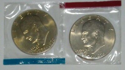 1976 P & D Bicentennial Eisenhower Dollars Mint in Original Cello Packaging