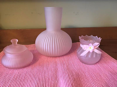 Antique Pink Glass Vase, Pink Candle Holder, Pink Accessories Dish