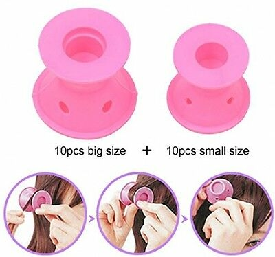 Silicone No Clip Hair Curlers Rollers 20pcs (10pcs Big+10pcs Small) Heat Free
