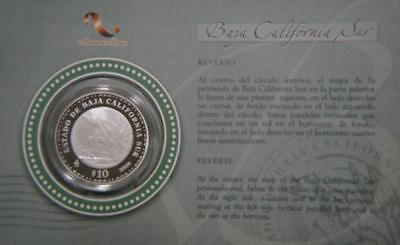 2006 Mexico Silver 1oz 10 Pesos Baja California Sur Proof Mint Package #1074
