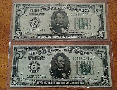 2-1928-A $5 Federal Reserve Note  7 Chicago  Vf Gold Redeemable !!