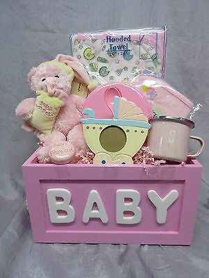 Baby Girl Pink Gift Basket - Teddy Bear,photo Frame,hooded Towel,cup,bowl - New