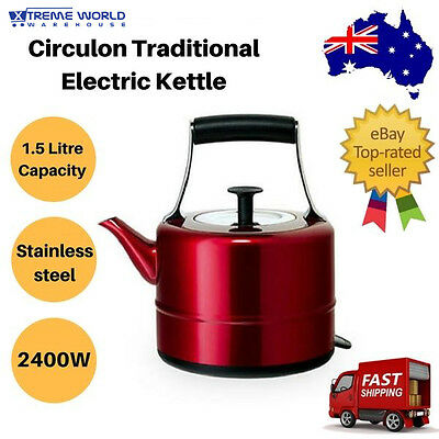 Circulon Traditional Electric Kettle 1.5L Red - 2400W, Stainless Steel