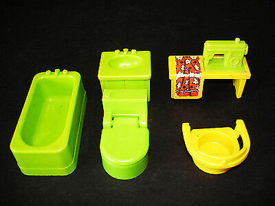 Vintage Fisher-Price Little People Decorator Green Bath & Utility Room Lot