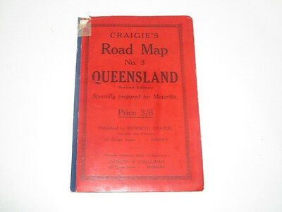 1920's Craigie's Road Map No 3 of Queensland Australia Shell Oil